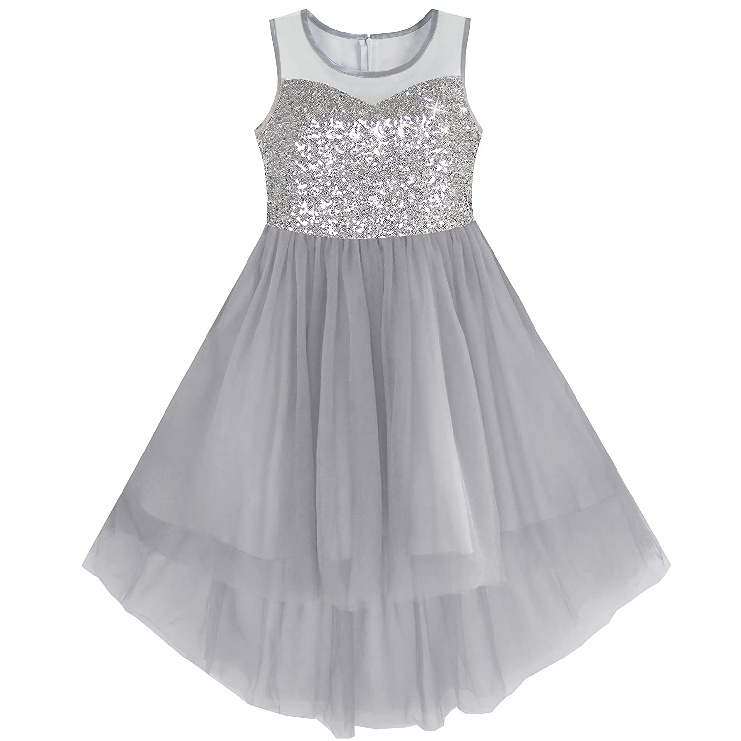 Sunny Fashion Girls Dress Sequin Mesh Party Wedding Princess Tulle, Vestito Bambina