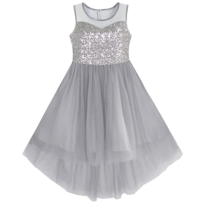 KB11 Girls Dress Gray Sequined Tulle Hi-lo Wedding Party Dress Size 7