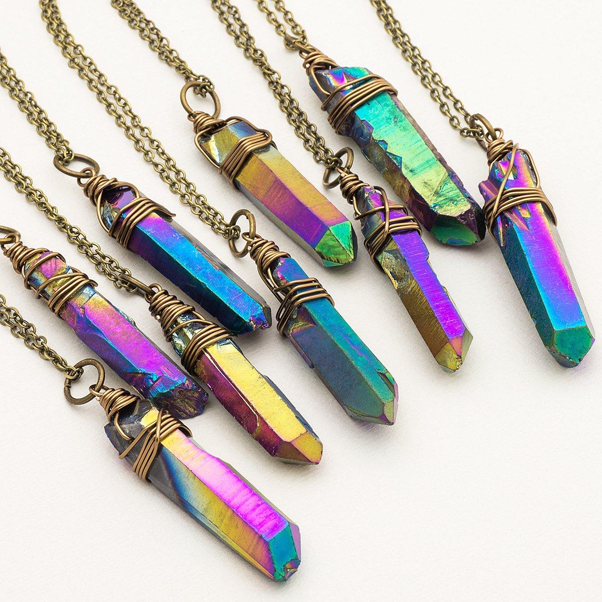 Raw rainbow titanium quartz point antique bronze chain pendant necklace