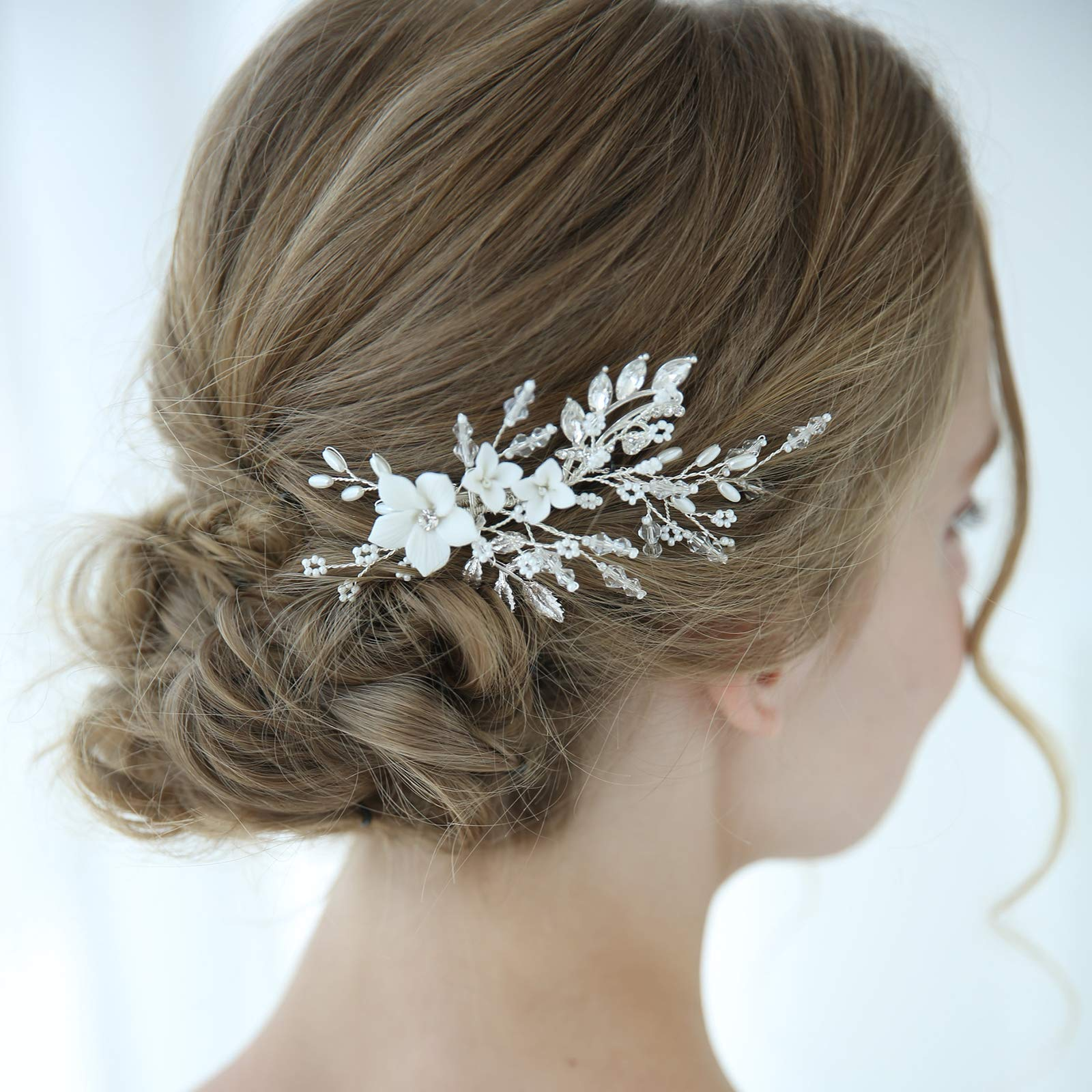 SWEETV Pearl Wedding Hair Clip Comb Barrette Flower Crystal Bridal Hair Accessories Silver Headpieces for Women Wedding by SWEETV