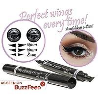 Eyeliner-Stift mit Stempel – WingLiner von Vogue Effects, schwarzer, wasserfester, wischfester, langanhaltender, flüssiger, veganer Eye liner. 2 in 1 Eyeliner-Hilfe (8mm Petite) …