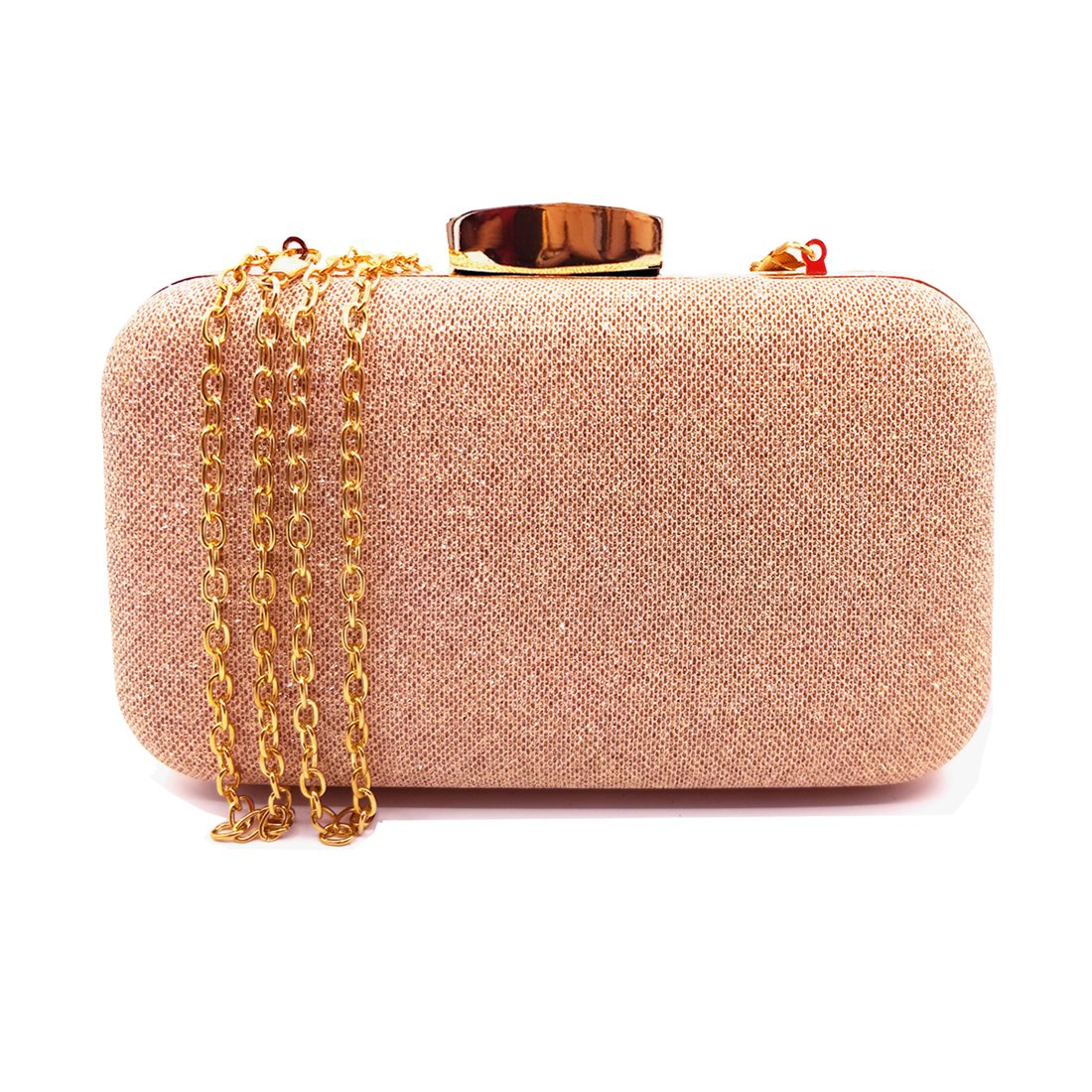 Lxinrong Glitter Evening Clutches Bags Prom Box Clutch Purses Bridal Purse for women Wedding and Party (Rose Gold)