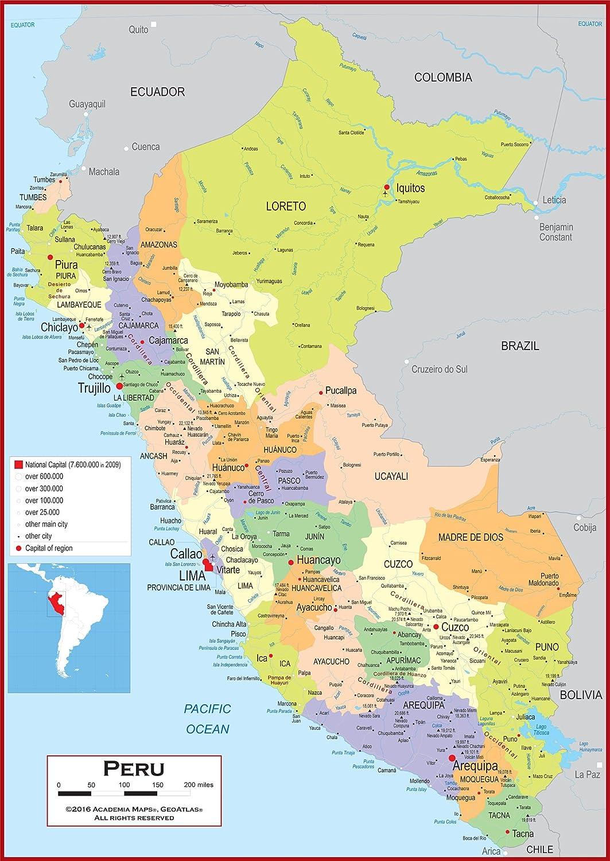 Amazon Com Academia Maps Wall Map Of Peru Fully Laminated