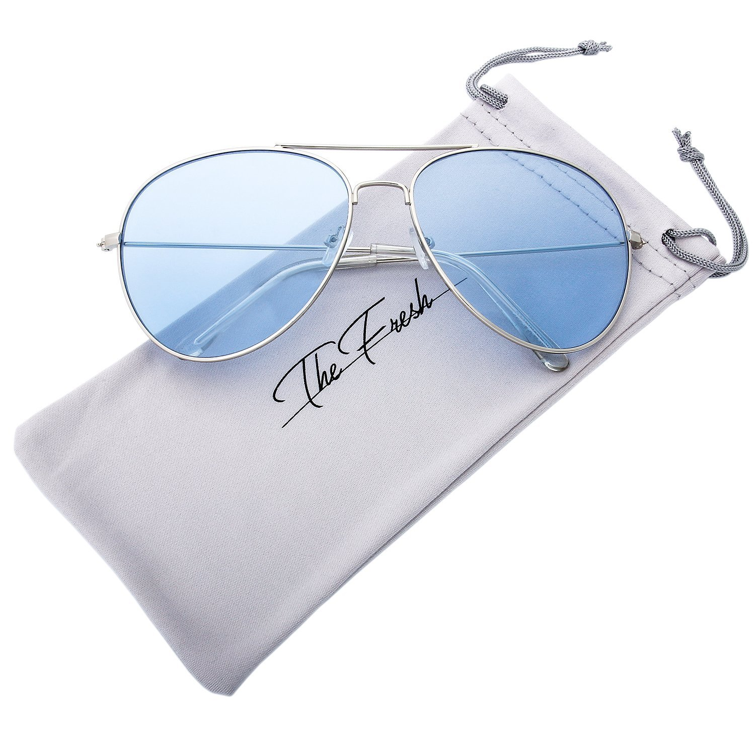 The Fresh Classic Metal Frame Light Color Lens XL Oversized Aviator Sunglasses with Gift Box (1-Silver, Blue)