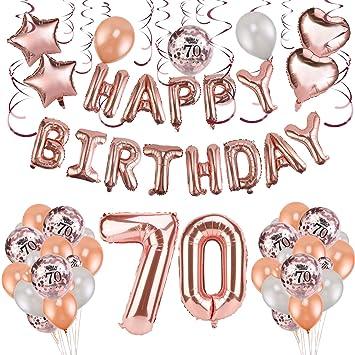 HOWAF Decoración de cumpleaños 70 en Oro Rosa para Mujeres, 59 Piezas Feliz cumpleaños Decoración Globos Guirnalda Banner 70 Años Globos de Confeti y ...