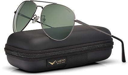 LUENX Aviator Sunglasses Womens Polarized Mirror with Case UV 400 Protection 60MM