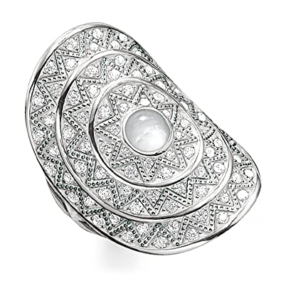 001f697fe53e Thomas Sabo Women Ring White Zig zag 925 Sterling Silver TR2053-690-14   Amazon.co.uk  Jewellery