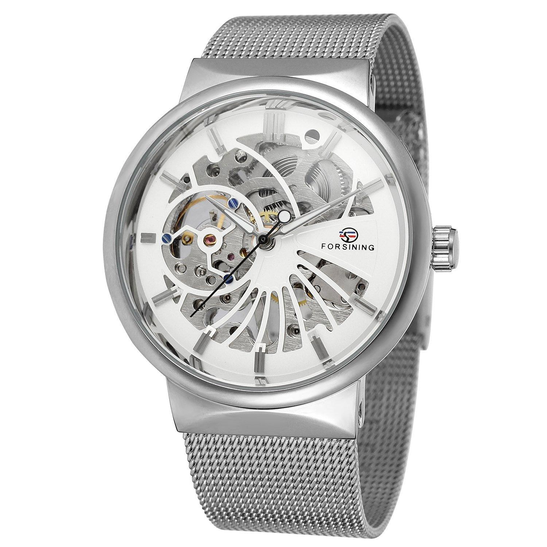 sweetbless WristwatchesメンズBoy Hollow OutホワイトHandwind Mechanical Watch  B076MVPKJL