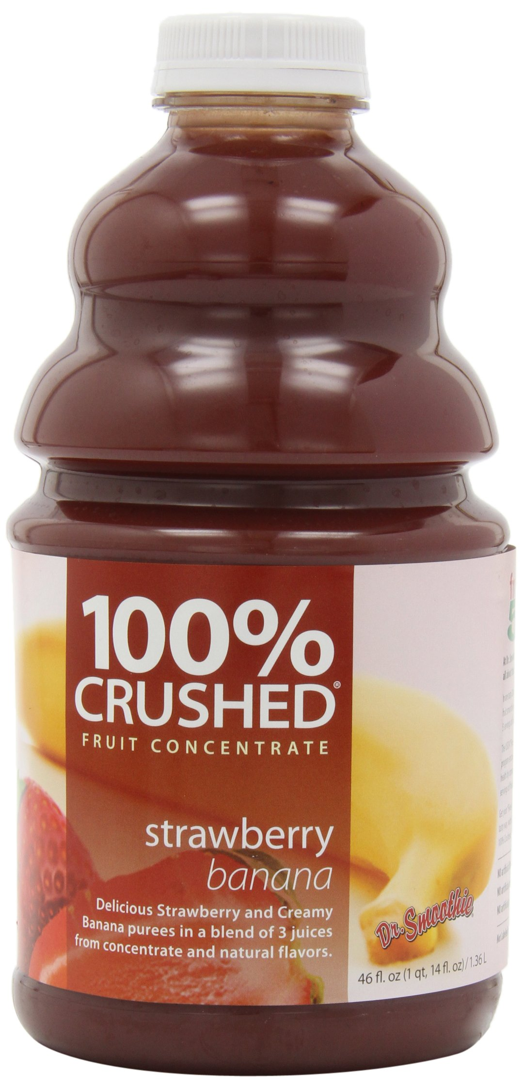 Dr. Smoothie 100% Crushed Fruit Smoothie, Strawberry Banana, 46-Ounce  Bottles
