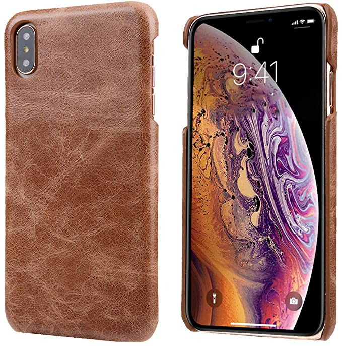 huge selection of 03659 56e9a iPhone X/iPhone Xs Leather Case, Reginn Slim Fit Phone Cover [Wireless  Charging Compatible] Genuine Leather Case for iPhone X/iPhone Xs (Saddle  Brown)