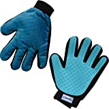 Zenify Pet Grooming Glove - Left Handed - For Cat, Kitten, Dog, Puppy, Rabbit, Horse - Dual Sided 2-in-1 Upgrade Version Machine Washable Enhanced Efficient Silicon Massage One-Size-Fits-All Gift Hair Deshedding Remover Mitt (Left Hand)