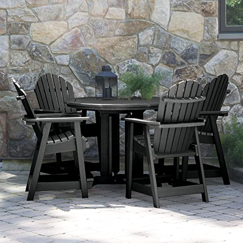 Highwood 5 Piece Hamilton Round Counter Height Dining Set, Black