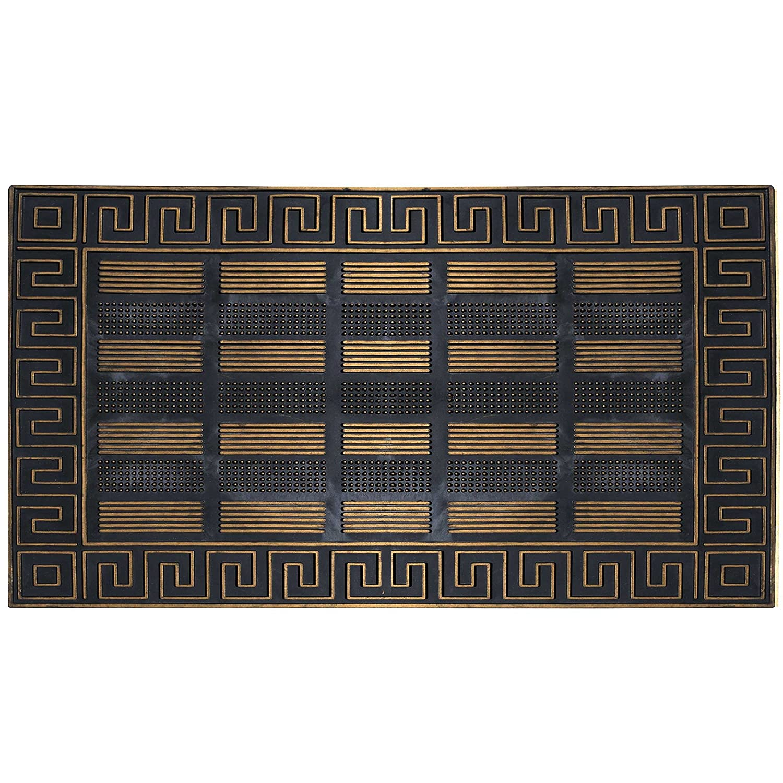 FHグループインドアアウトドアマットラグドアマット – Rubber Utility Mat Mudsのペット犬靴またはホーム ブラック DM008-AMZ B073WFK7VC Black with golden trim-DM008 Black with golden trim-DM008
