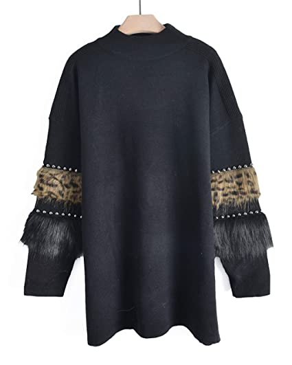 93e704c718f CY BOUTIQUE Soft leopard look faux fur and stud embellished sleeves jumper  dress black  Amazon.co.uk  Clothing