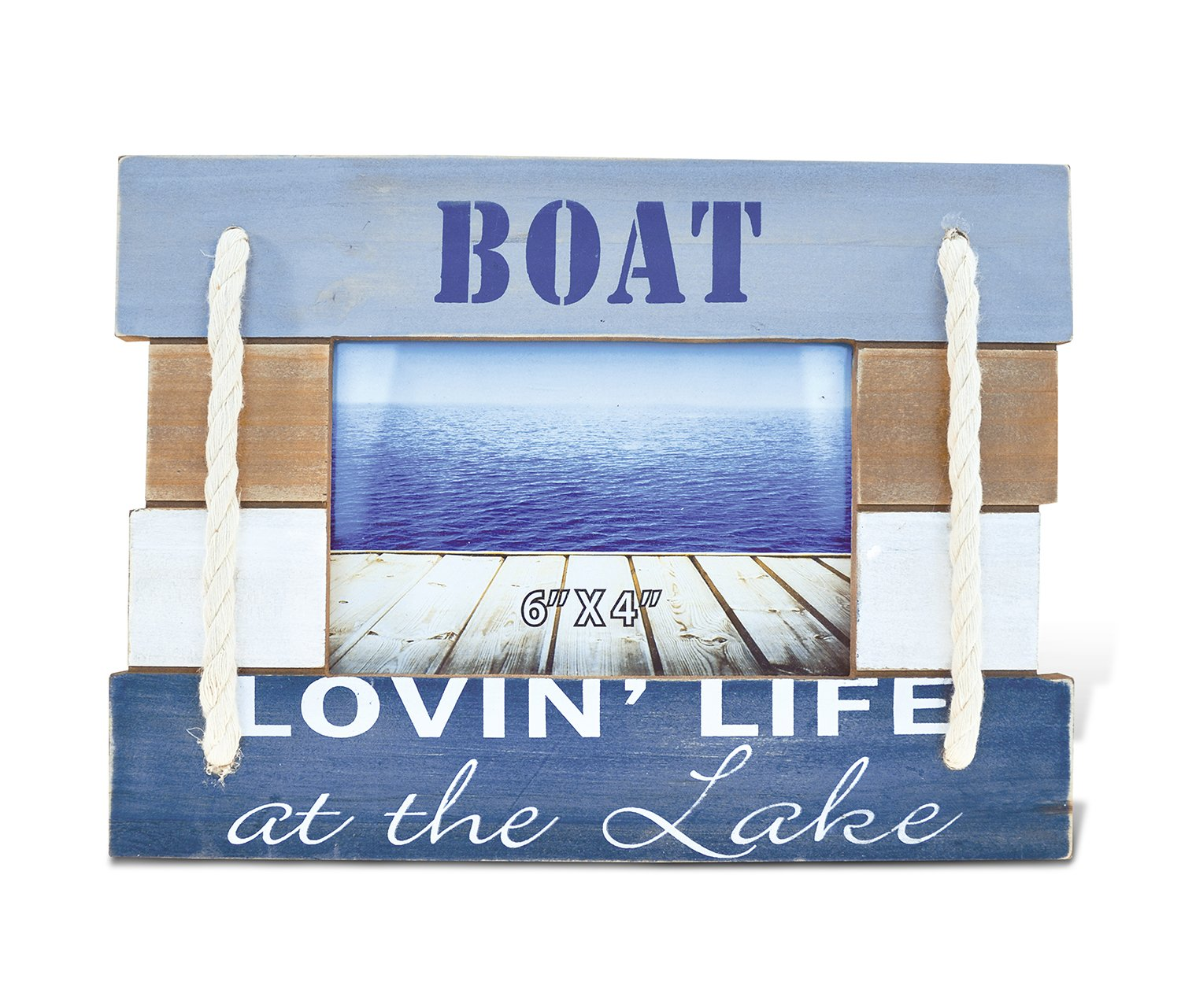 CoTa Global Nautical Coastal Wooden Atlantic ''Lovin' Life At the Lake'' Real Natural Wood Picture Holder Tabletop Photo Frame Unique Handcrafted Hand-painted Figurine Home Accent Accessories 7.5 Inch