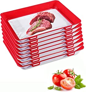 Food Plastic Preservation Tray- stackable food preservation trays- Reusable fresh tray food storage for Vegetable Fruit Meat Kitchen, Office, School (8)