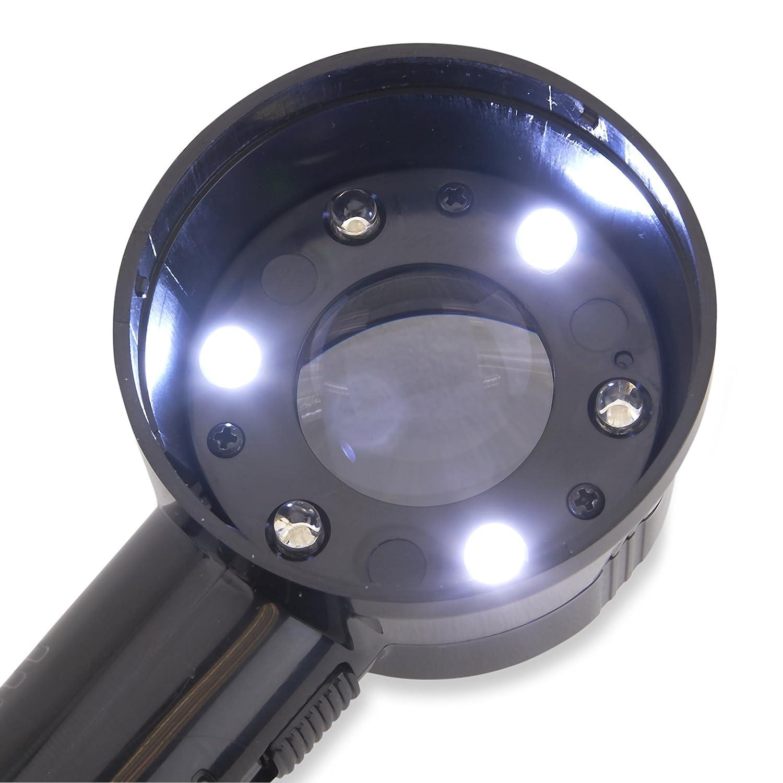 Carson MeasureLoupe Loupe De Mesure Grossissement 11,5x Avec R/éticule D/émontable Et Fonction /Éclairage Par LED Et Par Lumi/ère UV