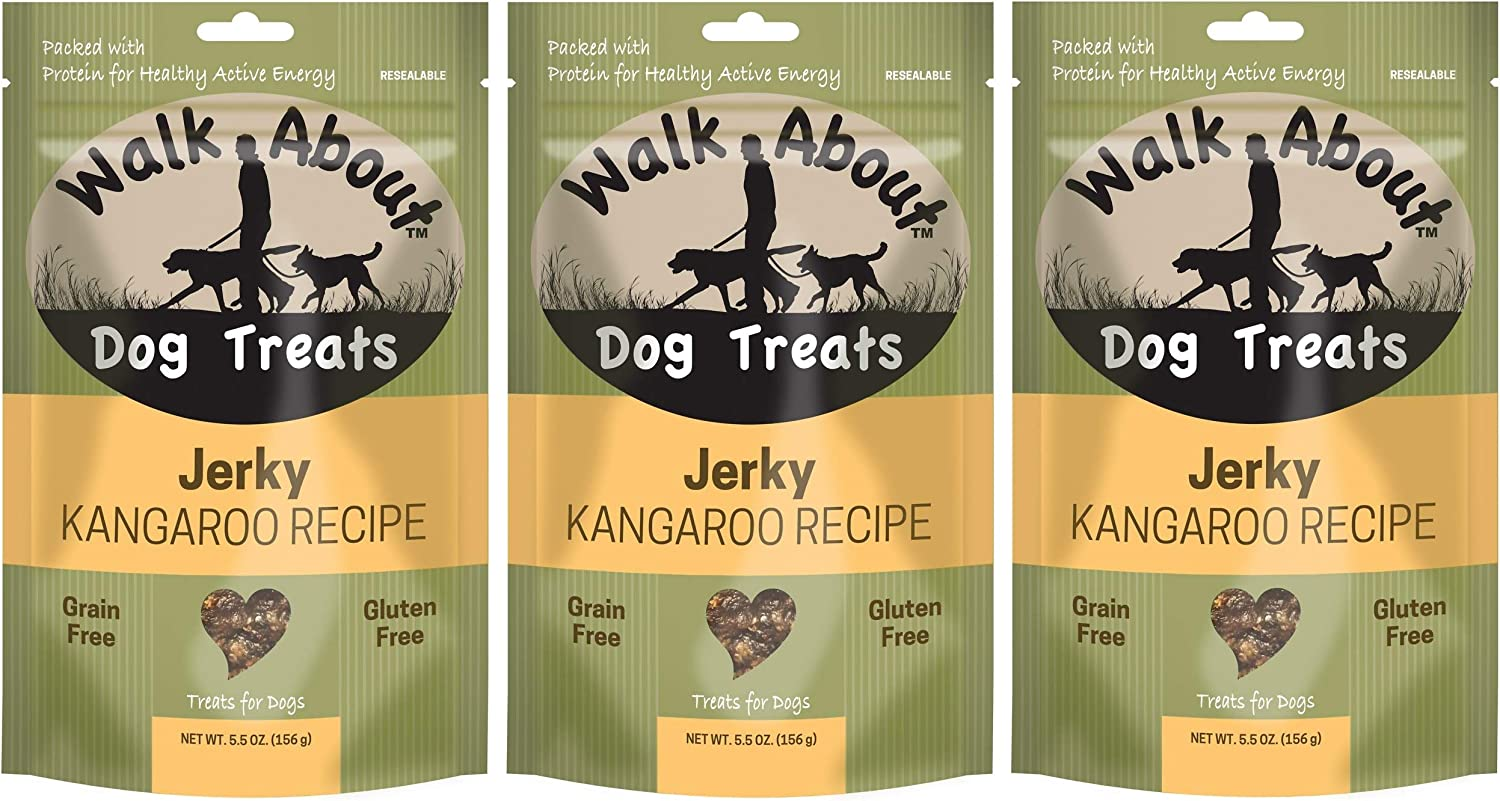 Walk About 3 Pack of Kangaroo Jerky Dog Treats, 5.5 Ounces each, Freeze Dried Single Meat Protein