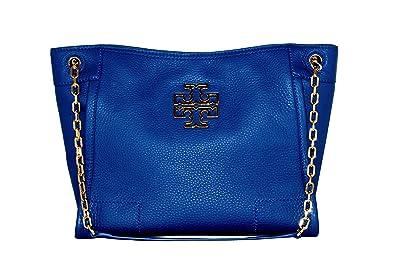 d25c9946e427 Amazon.com  Tory Burch Britten Small Slouchy Tote Bag (Bondi Blue)  Shoes