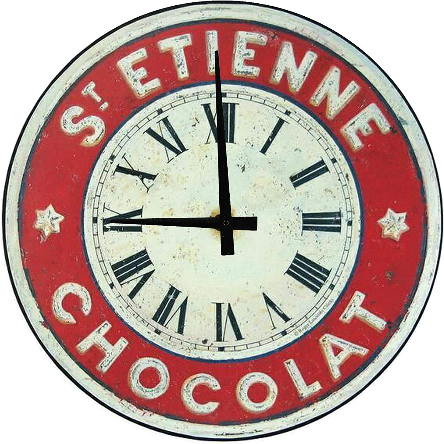 GBB Round Wood Wall Clock St Etienne Chocolate Red White Vintage Large Clock Wall Art 12 inch Home Decor