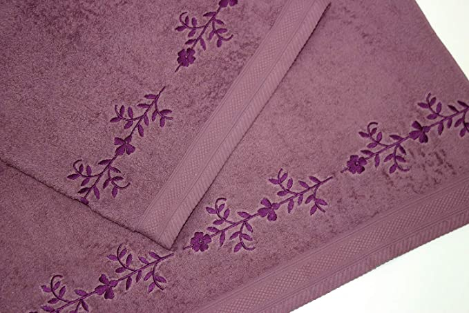 Juego de Toallas Bordadas 2 piezas 550gr CENEFA Nº5 (Crudo): Amazon.es: Hogar