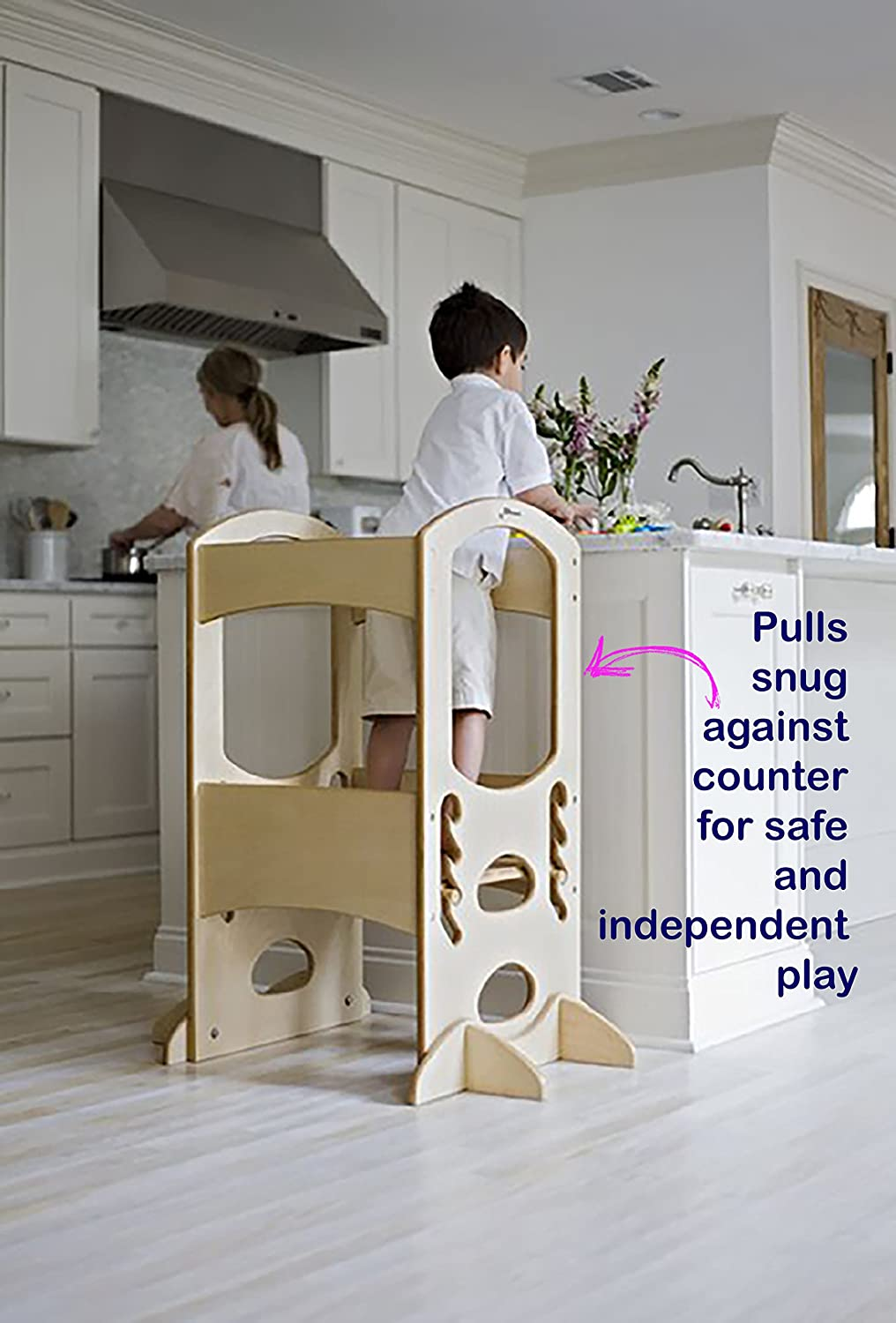 Brown Kitchen Helper Stool /& Desk for Toddlers Safe Convertible Montessori Tower by ComfyBumpy Easy Folding Design Turns Learning Step for Kitchen Counter Into Table /& Chair Set for Little Kids