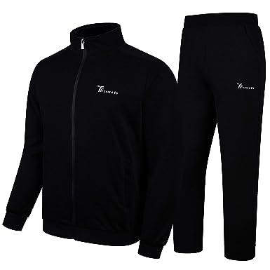 Realdo Mens Tracksuit Set Warm Running Full Zip Elastic Sports Jacket and Pants