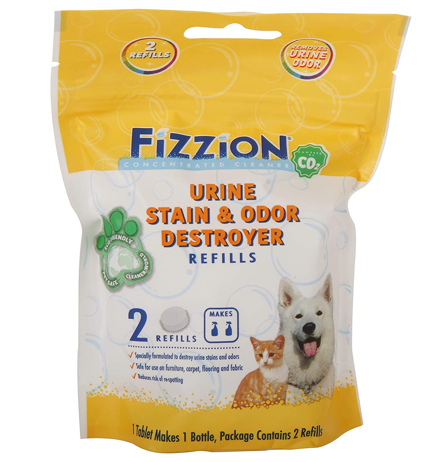 Fizzion Urine Pet Stain and Odor Destroyer Removes Pet Urine Stains and Odors Safely with The Professional Cleaning Power of CO2 2 Tablets