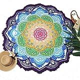 Manfa Tapicería / Colgante / Colch Tapicería redonda blanca de la mandala, colcha del lecho del tiro, meditación redonda estera de la yoga 150 * 150cm