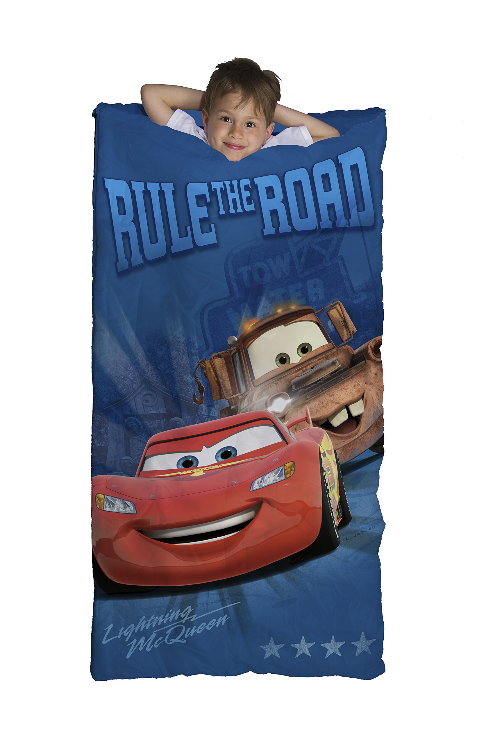 Disney/Pixar Cars Rule The Road McQueen & Mater Blue 30'' x 54'' Slumber Bag, Matching Carry Bag Included (Official Disney/Pixar Product)