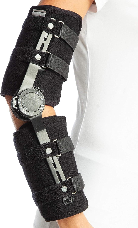 ArmoLine ROM - Codera ajustable con bisagras, longitud completa, ortesis para hombres y mujeres (izquierda)