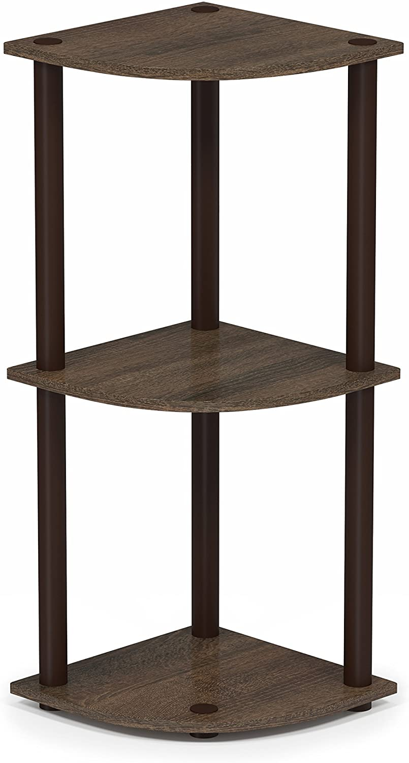 Furinno Turn-N-Tube 3-Tier Corner Display Rack Multipurpose Shelving Unit, Walnut/Brown