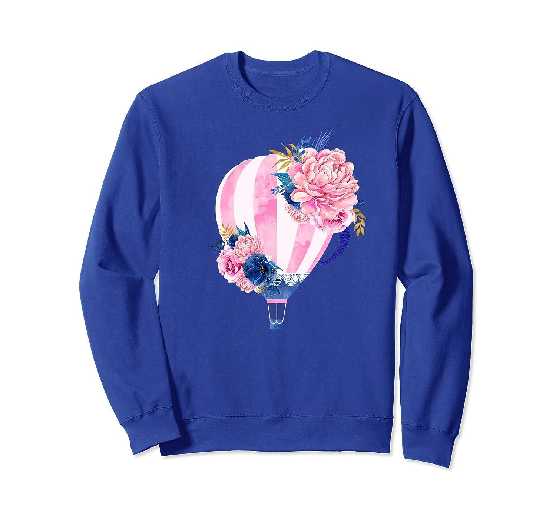 Beautiful Pink Hot Air Balloon Flower Art Design Sweatshirt-mt