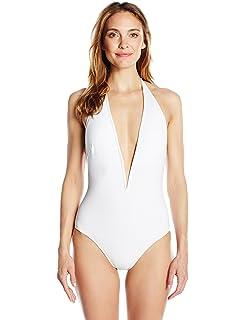 ab7dd1a992615 Gottex Women's Deep Plunge Halter One Piece Swimsuit at Amazon ...