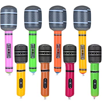 Hicarer 8 Piezas Micrófono Inflable Micrófono de Juguete Set para ...