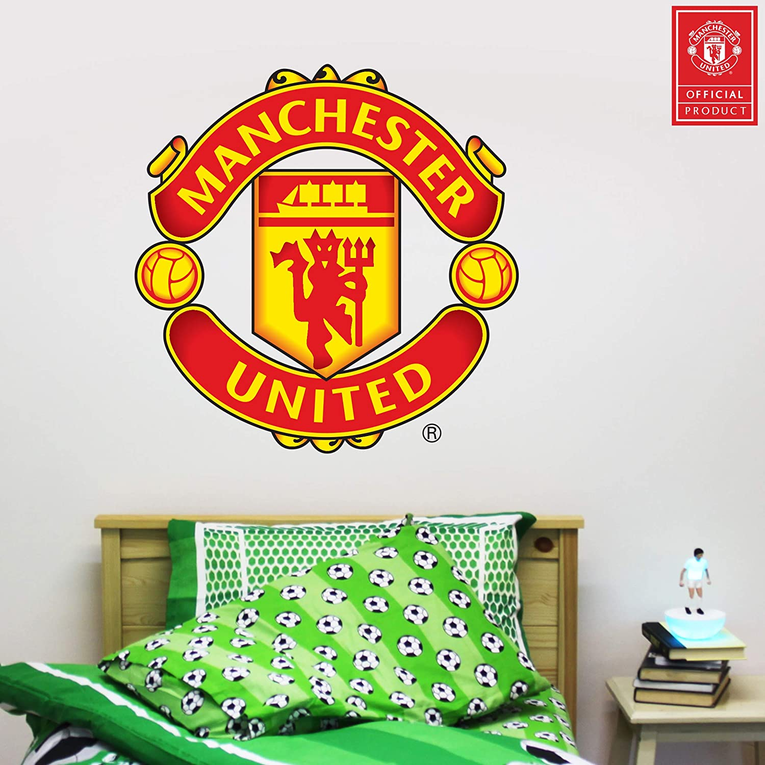 Amazon com beautiful game ltd manchester united football club official crest wall sticker man utd logo decal set vinyl poster print mural art 120cm