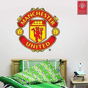Beautiful Game Ltd Manchester United Football Club Official Crest Wall Sticker + Man Utd Logo Decal Set Vinyl Poster Print Mural Art (60cm)