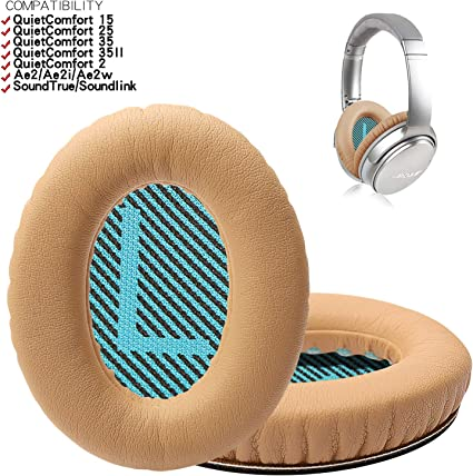 Replacement Memory Foam Earpads White Cushion+White Mat Replacement Ear Pads for Bose QuietComfort15 QC2 QC15 QC25 QC35 AE2 Headphones Ear Cushion Kit