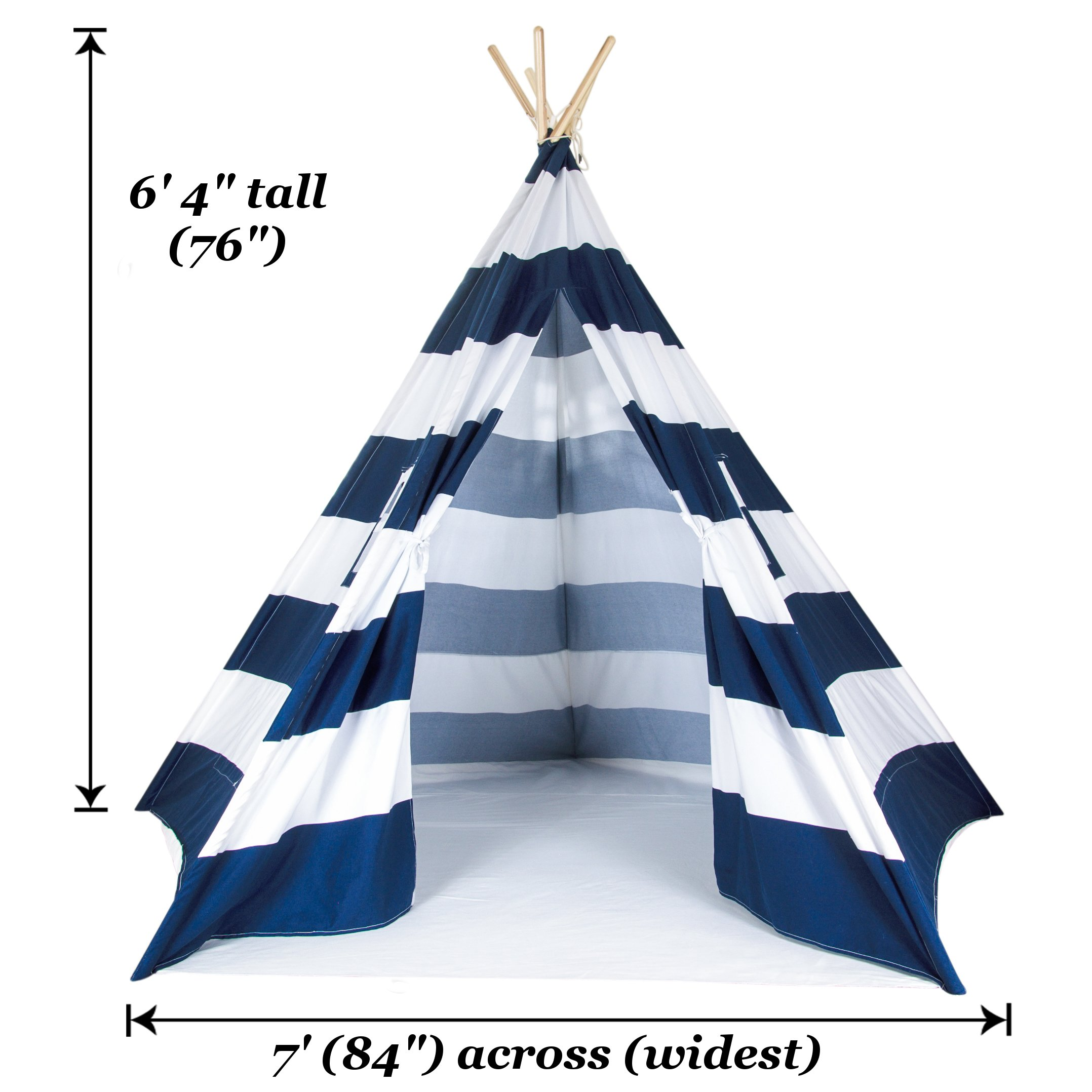A Mustard Seed Toys Large Kids Teepee Tent, Big Enough for The Whole Family, 100% Natural Cotton Canvas Tent with Carrying Case, No Extra Chemicals (Navy) by A Mustard Seed Toys (Image #3)