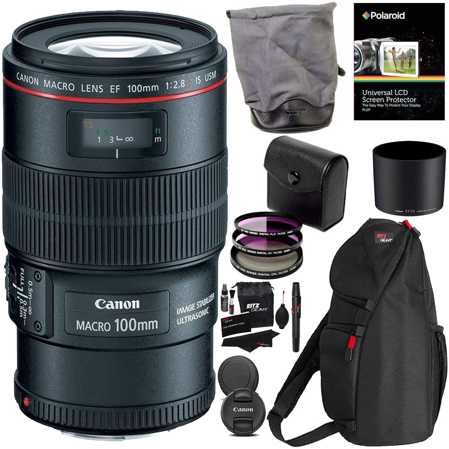 Canon EF 100mm f/2.8L is USM Macro Lens for Canon Digital SLR Cameras, 3 Piece 67mm Filter Kit (UV/CPL/FLD) and RitzGear Accessory Kit