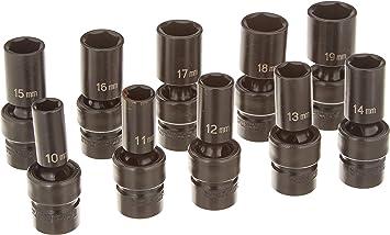 1213MSD Grey Pneumatic 13 Pc 3//8/'/' Drive Semi–Deep Length Metric Socket Set