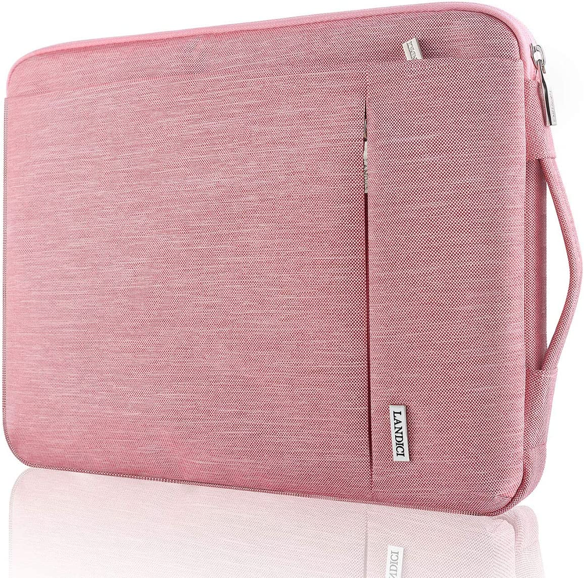 """Landici 360 Protective Laptop Sleeve 11.6 Inch,Waterproof Notebook Tablet Case Bag Compatible for IPad Pro 12.9 2020,12.3"""",Surface Pro 7/6/5,MacBook Air 11,New MacBook 12"""",HP Acer Chromebook-Pink"""