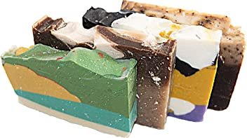 Morning Energy Soap Collection - 4(Four) 2Oz Guest Bars, Sample Size Soap -Natural Handmade Soaps for Fresh Morning Shower. Oatmeal Honey, Green Tea, White Tea, Coffee Soap - Falls River Soap Company