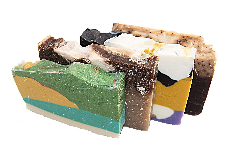 Mañana energía jabón Bar Set (4 barras de invitados) -Todos jabones para paquete de energía ducha. Avena y Miel, Té Verde, Té blanco y jengibre y CAFA AU ...