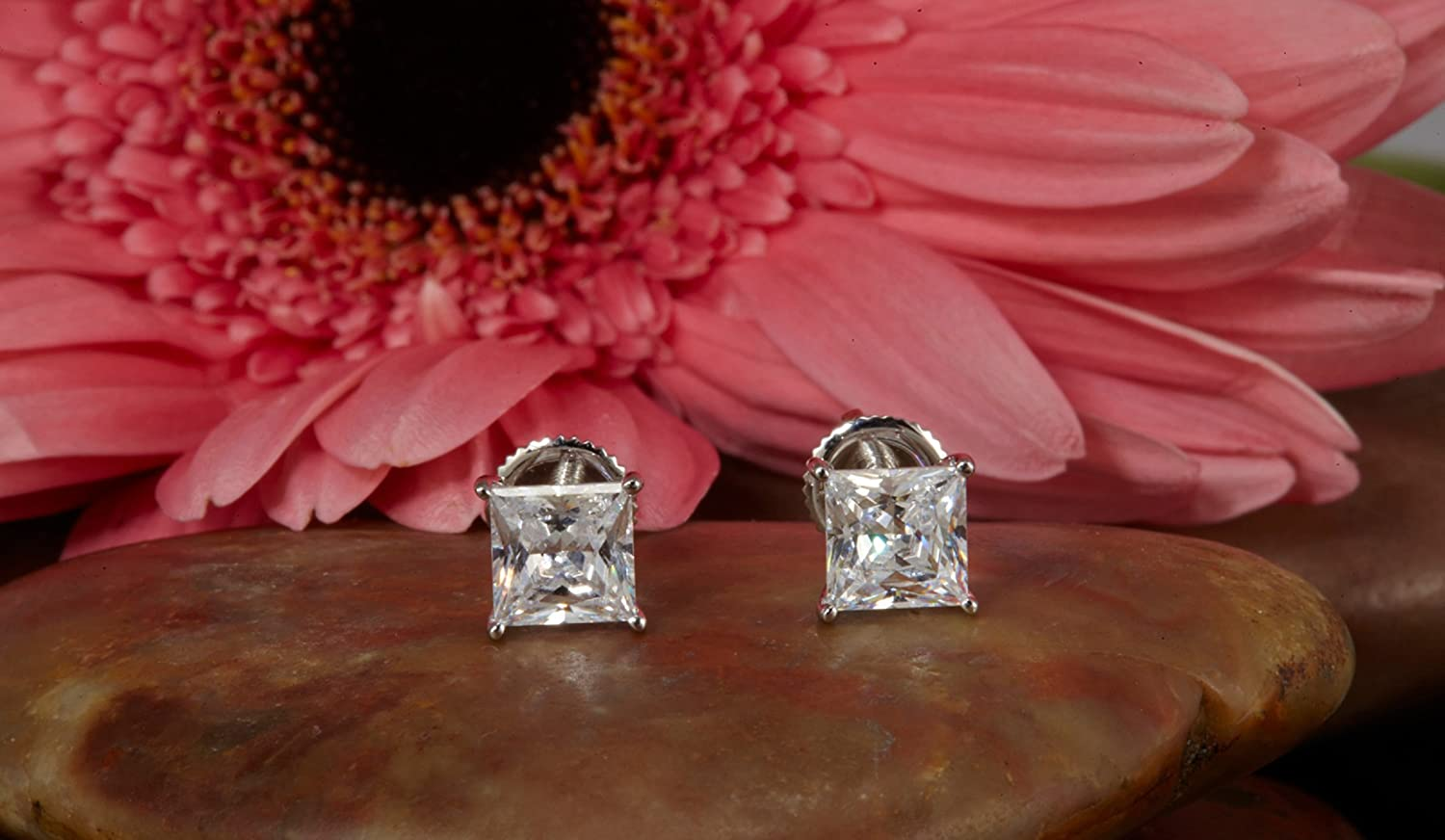 Clara Pucci 2.90 CT Princess Brilliant Cut Solitaire Stud Earrings in 14k White Gold Push Back