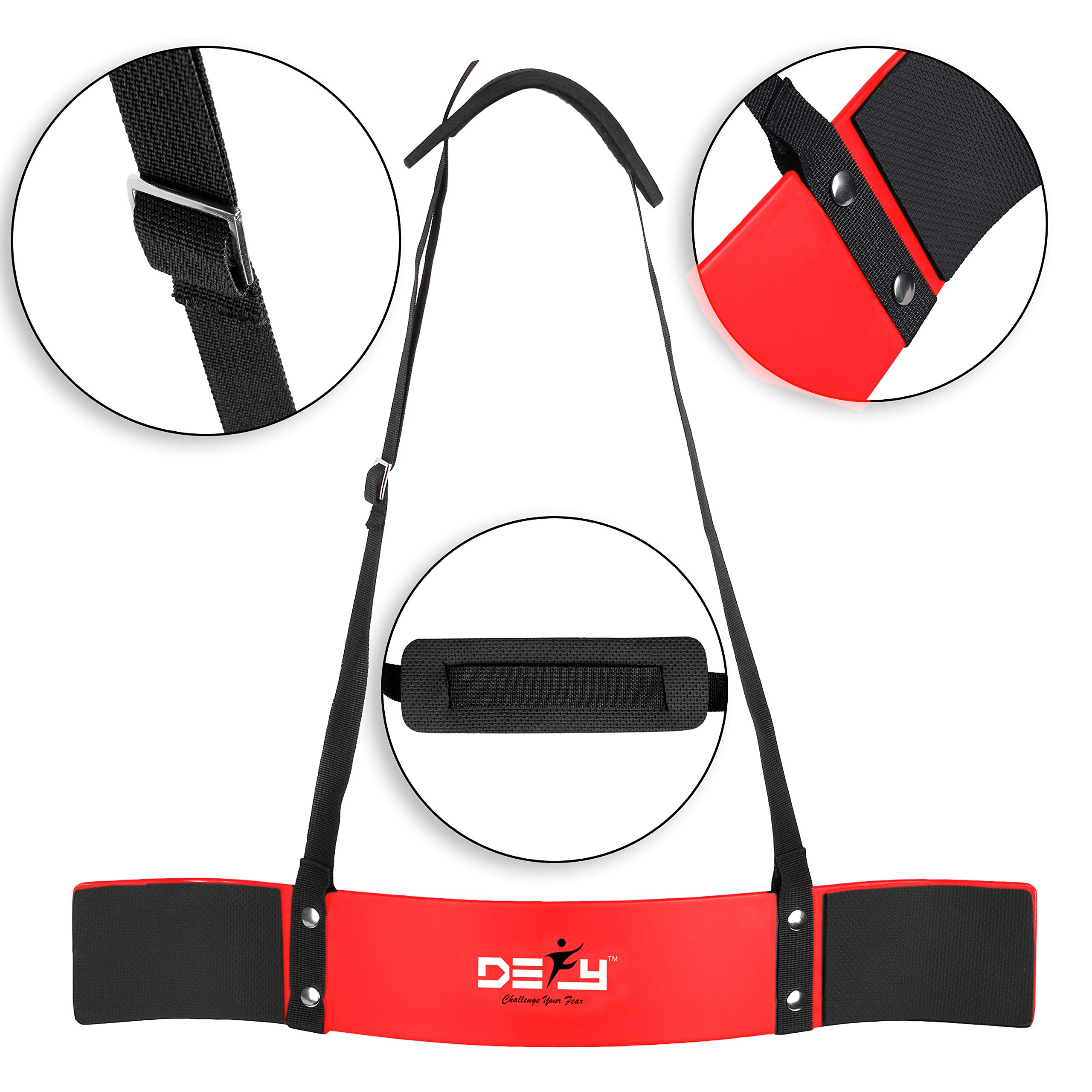 DEFY Heavy Duty Arm Blaster for Biceps and Triceps Workout Ideal Bicep Isolator & Muscle Builder for Bodybuilders and Weight Lifters with Advanced Neoprene Padding for Secure Workout (Red)