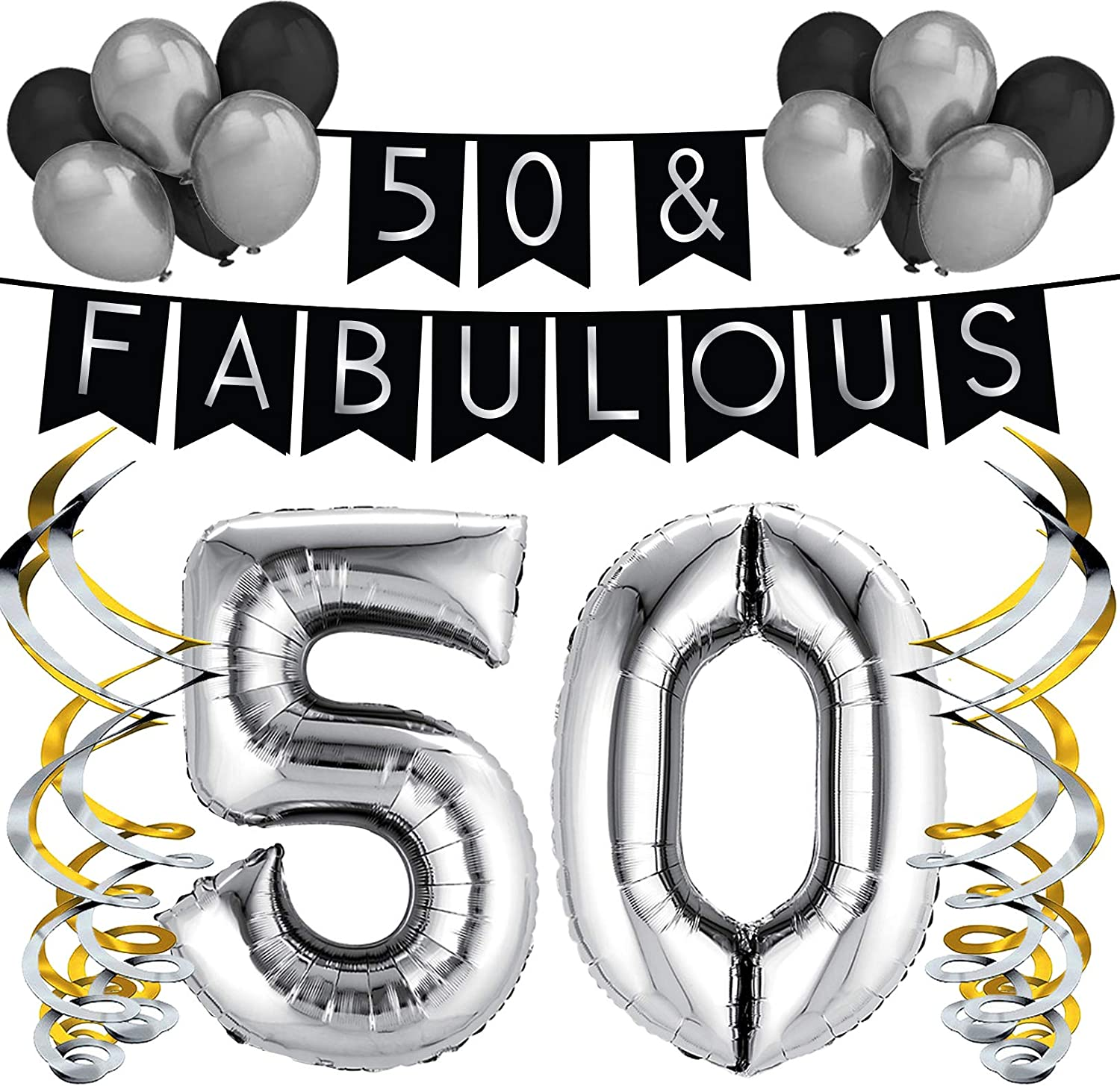 21st Birthday Black And Silver Hanging Decorations Pack Of 6