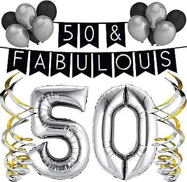 Amazon.com: 50 & Fabuloso Pack de fiesta de cumpleaños ...