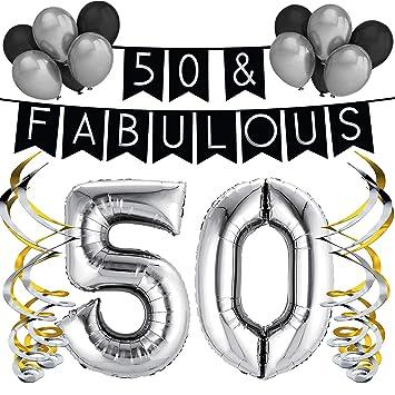 Paquete de fiesta de cumpleaños número, 50 & Fabulous – Paquete de feliz cumpleaños Negro y Plateado, globos y remolinos - Decoraciones de cumpleaños ...