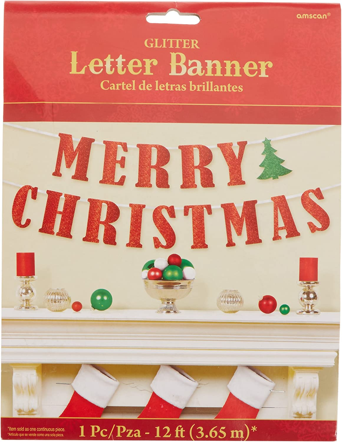 amscan Red Merry Christmas Ribbon Glitter Banner | Party Decoration, Red/Green, 12' (210279)